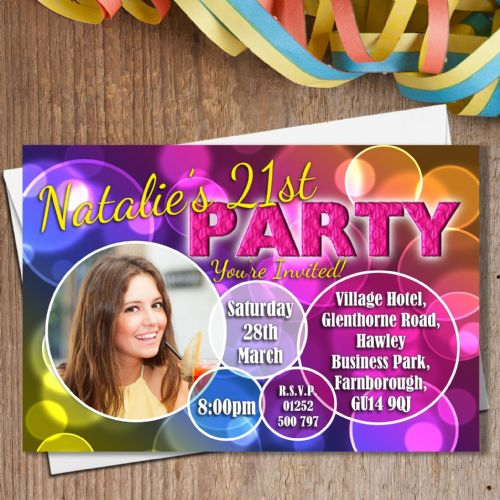 10 Personalised Bubbles Birthday Party PHOTO Invitations N180